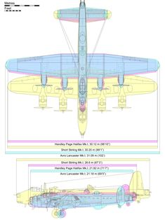 Diagram comparing the Stirling (yellow) with its contemporaries; the Avro Lancaster (blue) and the Handley Page Halifax (pink). Aircraft Photos, Ww2 Aircraft, Military Aircraft, Handley Page Halifax, Lancaster Bomber, Ww2 Planes, Vintage Airplanes, Royal Air Force, Stirling