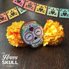 These Happy Skull, enamel pins feature original art by Ruth Barrera of the Happy Skull Studio. My cloisonné pins are double posted for a