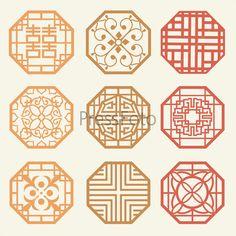 Корейские старинные узоры. Набор рамок и орнаментов