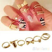 punk 7 pcs promoção ouro cores crânio bowknot banda simples prego coração meados superior de empilhamento dedo anéis definido para as mulheres(China (Mainland))