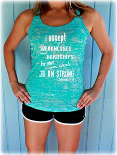 Christian Workout Tank Top. 2 Corinthians 12 10. For When I am Weak Then I am Strong. Bible Verse. Womens Christian Fitness Clothing.
