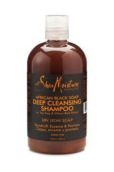 Shea Moisture's African Black Soap Deep Cleansing Shampoo gently cleanses as it removes buildup from styling products and soothes dry, itchy and flaking scalp. Helps regulate sebum production. Sulfate