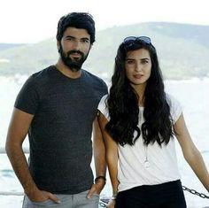 Engin Akyürek as Ömer and Tuba Buyukustun as Elif in the Turkish TV series KARA PARA ASK, 2014-2015.