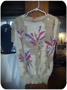 Sassy Sleeveless Sweater with Geometric blossoms.    FOR SALE at Portland Flea-for-All!!!!!!!
