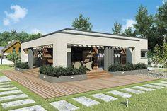Projekt domu Sardynia II Sz 103,05 m2 - koszt budowy - EXTRADOM Modern Villa Design, Best House Plans, Good House, House Front, Sustainable Living, Pergola, Home And Garden, Exterior, Building