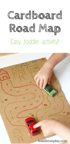 Super easy and fun toddler activity. Great use for any cardboard! Outdoor Activities For Toddlers, Map Activities, Games For Toddlers, Indoor Activities, Toddler Games, Parenting Toddlers, Toddler Play, Parenting Tips, Maps For Kids