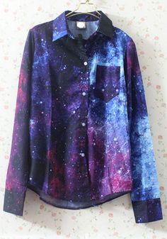Multicolor Galaxy Print Turndown Collar Cotton Blend Blouse