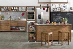 parede preta + prateleira cozinha
