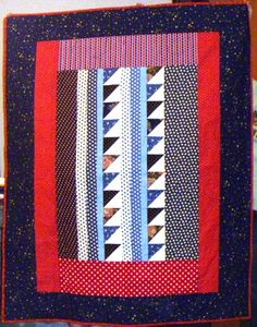 A thoroughly modern red, white and blue quilt, made by Phyllis Vantine's quilting group.