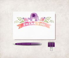 Elephant Thank You Card Printable Digital file by tranquillina