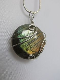 Wire Wrapped Labradorite Pendant Silver and by ArtfullyWrapped, $38.00