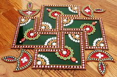 Rangoli Bollywood inspired Acrylic floor art Indian by Nirman