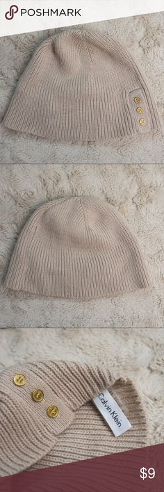 Calvin Klein Beanie Knitted tan Calvin Klein Beanie! Beautiful detail with gold buttons and is in great shape! Calvin Klein Accessories Hats
