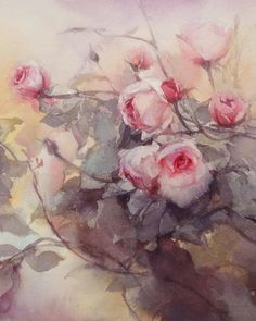 Phatcharaphan Chanthep ~ Roses in the Morning ~ Watercolor