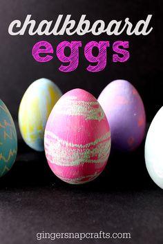 chalkboard eggs #Easter #kidscraft #chalk #decoart
