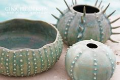 Beautiful turquoise sea urchin pottery | coquillage | Pinterest