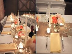 rustic table setting with burlap runners and soft vintage colors.
