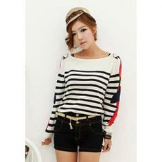 Preppy Style Large Boat Neck Stripes Slimming Fitted Parrot Pattern Cotton Blend Women's Sweater