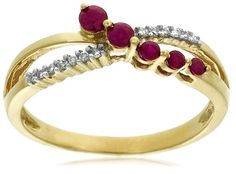 10k Yellow Gold Ruby and Diamond Journey Ring $142.14