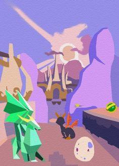 Spyro minimalist landscape. - Video Games, Spyro, Displate