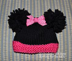 Minnie, the Famous Mouse, is knitted with any easy care, non- animal fiber worsted weight pink and black yarn that makes up 16 stitches x 20 row to equal 4 inches. It's sized to fit four sizes of babies from micro preemie, up to 2.5 lbs, thru Newborns. It's a perfect pattern for charity knitters who create cute hats for NICU's, Pediatric Units, and Newborns in Need or as a gift to any newborn baby.