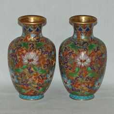 Antique Chinese Cloisonne Vases Decorated by VintageByTheCoast