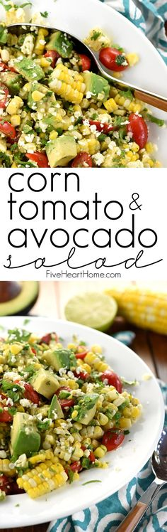 Corn, Tomato, & Avocado Salad ~ an explosion of Tex-Mex flavors and summertime textures, with fresh roasted corn, juicy tomatoes, creamy avocado, minced jalapeño, crumbled cotija cheese, and fresh cilantro in a zippy lime vinaigrette! | FiveHeartHome.com