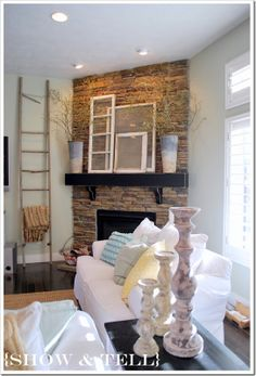 {Summer pooped in my family room} - Corner Fireplace. Lets the TV be centered with furniture, yet still a focal point. Fireplace Remodel, Fireplace Mantle, Fireplace Design, Fireplace Ideas, Fireplace Stone, Corner Fireplaces, Basement Fireplace, Wood Mantle, Shiplap Fireplace