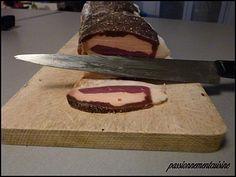 MAGRET SECHE FARCI AU FOIE GRAS (magret, 500 g de gros sel, 1 c à s de poivre noir, 100 g de foie gras frais, 2 compresses) SALAGE : 16 h