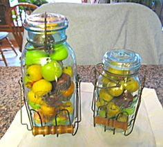 antique mason jars | Antique Mason Jars w/Wire Carriers (Fruit Jars, Glassware) at More ...