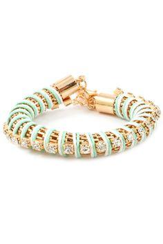 Mint Crystal Mesh Bracelet
