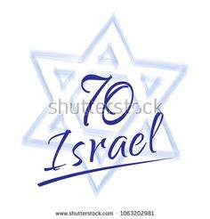 Israel 70 anniversary, Independence Day, calligraphy text festive greeting poster, Jewish Holiday, Jerusalem banner with Israeli blue star, fireworks, vector modern design wallpaper. 2018 celebrate