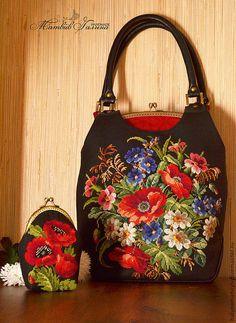 """Купить Комплект """"Бабье лето"""" сумка и кошелечек - цветочный, сумка женская, вместительная сумка"""