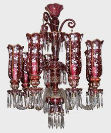 Red Bohemian Glass Chandelier with Hurricane Shades. Sold $12,000.00.