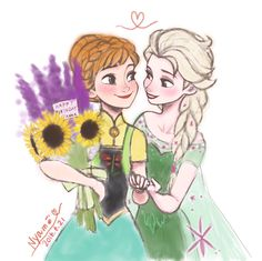 Princess Anna and Queen Elsa in Frozen Fever❄️ They look so cute