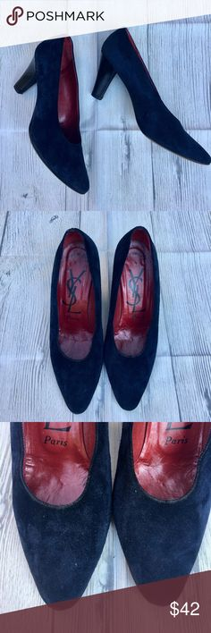 "Yves Saint Laurent Vintage Navy Pumps Classic Shoes are the Best!! Vintage navy Suede pumps have 3""inch black heels. Wear on the soles/heel but no damage to the Suede. Yves Saint Laurent Shoes Heels"