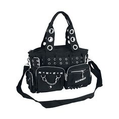 Banned Apparel Handcuff Black Canvas Silver Studded Vegan Gothic... ❤ liked on Polyvore featuring bags, handbags, studded handbags, silver purse, hand bags, faux leather handbags and faux leather purses