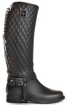 Women's Fashion Dav Rain Boot Galway quilted corset black – däv