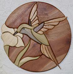"""Intarsia art titled """"Hummingbird"""" by Rod Funk"""