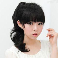 Cute Asian Korean Style Pony Tail for Long Hair Tutorial | Girls Hair Tutorials | Pinterest ...