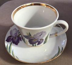 Russian Imperial Porcelain Tea Cup saucer Lomonosov Iris Design St. Petersburg #Lomonosov #Floral