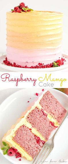 This Raspberry Mango Cake is the perfect way to celebrate the summer months. Raspberry cake layers and a heavenly mango frosting. | livforcake.com