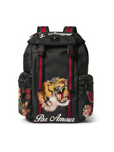 Gucci - Patch-Embellished Canvas Backpack - Most Expensive Luxury Brands Men's Backpack, Leather Backpack, Fashion Backpack, Gucci Handbags, Luxury Handbags, Mens Designer Backpacks, Gucci Gang, Fashion Bags, Mens Fashion