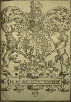 James I, King of England. The workes of the most high and mightie prince, Iames: by the grace of God, king of Great Britaine, France and Ireland, defender of the faith, &c. London : Printed by Robert Barker and Iohn Bill, 1616[-20]. Engraving of King James's Coat of Arms.