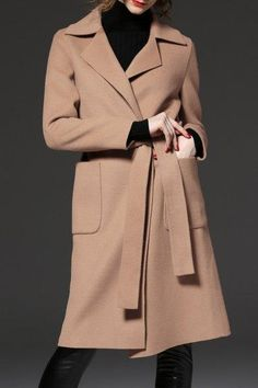 Slit Back Long Wrap Coat