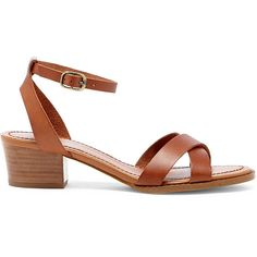 Sole Society Savannah Block Heel Sandal ($70) ❤ liked on Polyvore featuring shoes, sandals, cognac, leather sandals, t-bar sandals, color block sandals, leather shoes and colorblock sandals