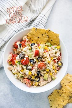 (AD) This Cottage Cheese Tuna Salad is the BEST and a family favorite we make on the regular! It's an easy tasty mix of tuna cottage cheese avocado corn cherry tomatoes bell pepper black olives and Dijon. Lunch Recipes, Seafood Recipes, Gourmet Recipes, Salad Recipes, Cooking Recipes, Healthy Tuna Salad, Healthy Snacks, Healthy Recipes, Healthy Cottage Cheese Recipes
