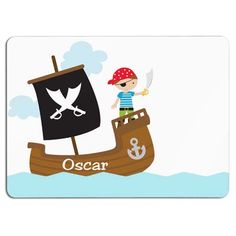 Placemat with a name and a pirate, cute personalized gift for a boy!