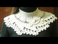 crochet tutorial cuello facil para otoño - YouTube Crochet Bolero, Poncho Au Crochet, Crochet Collar, Knit Crochet, Crochet Squares, Crochet Stitches, Crochet Hooks, Crochet Flower Tutorial, Crochet Flowers