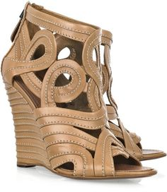 Leather Wedge Sandals - Lyst